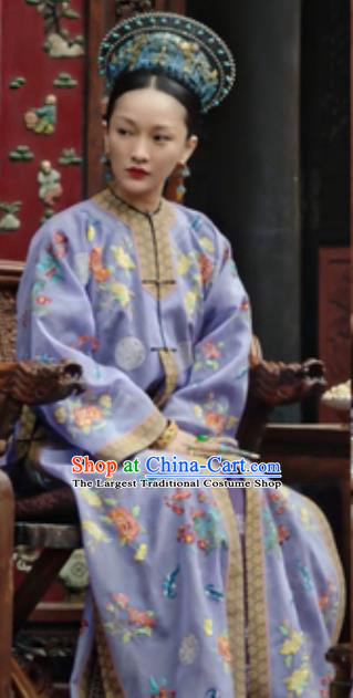 Chinese Ancient Qing Dynasty Mandarin Dress Manchu Imperial Consort Ruyi Embroidered Costumes and Headpiece Complete Set
