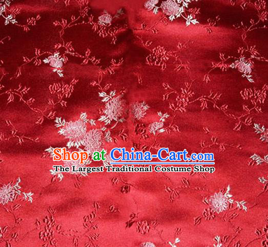 Asian Chinese Tang Suit Red Brocade Material Traditional Chrysanthemum Pattern Design Satin Silk Fabric