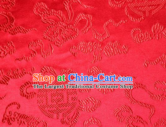 Asian Chinese Tang Suit Silk Fabric Brocade Material Traditional Cucurbit Pattern Design Red Satin