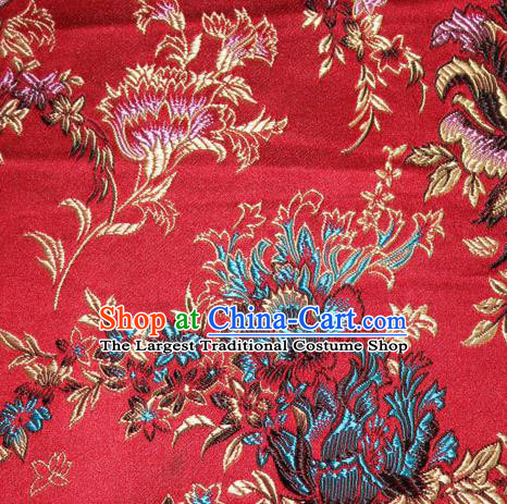 Asian Chinese Tang Suit Silk Fabric Red Brocade Traditional Peony Pattern Design Satin Material