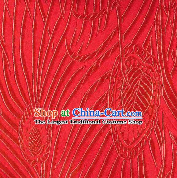 Asian Traditional Royal Feather Pattern Design Red Satin Material Chinese Tang Suit Brocade Silk Fabric