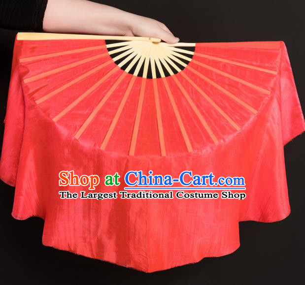Chinese Traditional Folk Dance Props Watermelon Red Silk Fans Folding Fans Yangko Fan