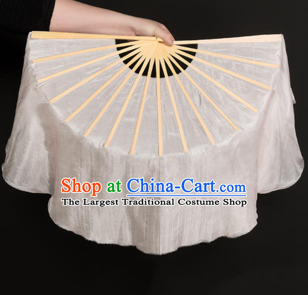 Chinese Traditional Folk Dance Props White Silk Fans Folding Fans Yangko Fan