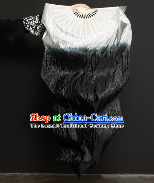 Chinese Traditional Folk Dance Props Gradient Black Ribbon Silk Fans Folding Fans Yangko Fan