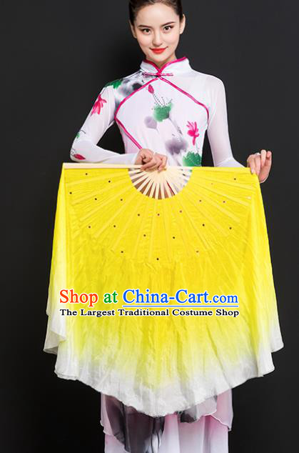 Chinese Traditional Folk Dance Props Double Sides Yellow Ribbon Silk Fans Folding Fans Yangko Fan
