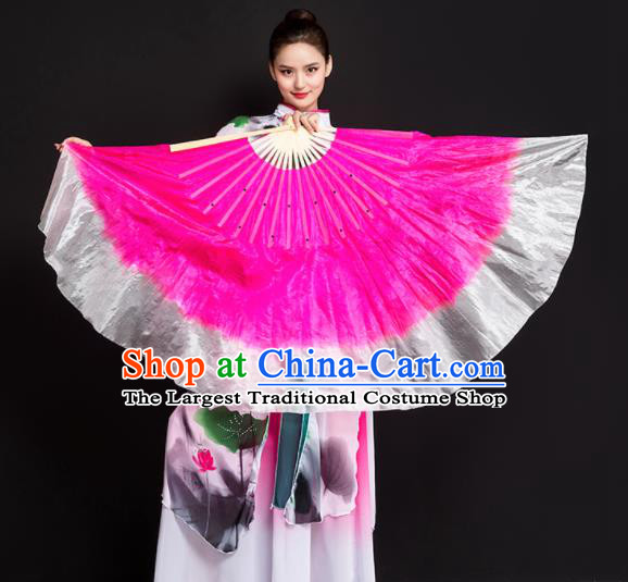 Chinese Traditional Folk Dance Props Rosy Ribbon Double Sides Fans Silk Folding Fans Yangko Fan