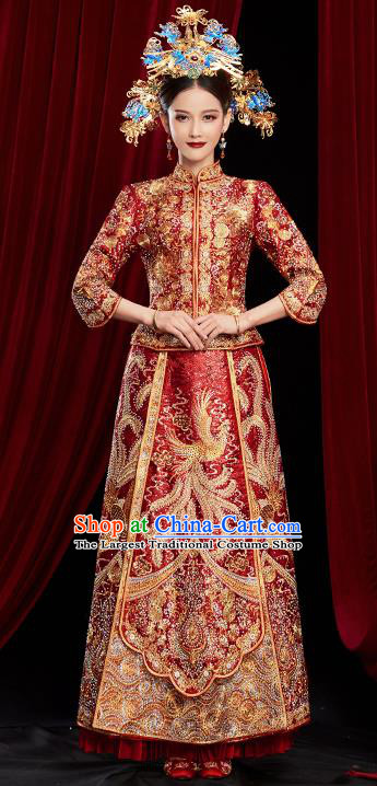 Chinese Traditional Wedding Red Xiuhe Suits Ancient Bride Embroidered Costumes for Women