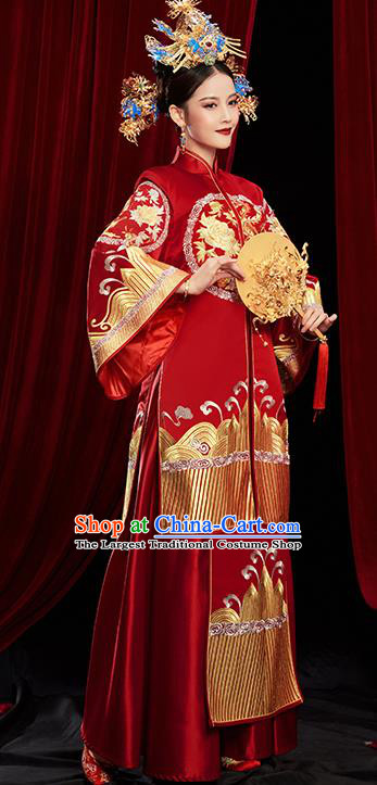Chinese Traditional Wedding Red Xiuhe Suits Ancient Bride Toast Embroidered Costumes for Women