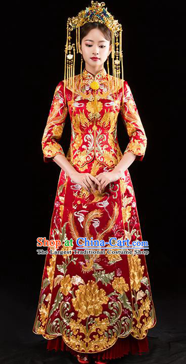 Chinese Traditional Wedding Toast Red Xiuhe Suits Ancient Bride Embroidered Phoenix Costumes for Women