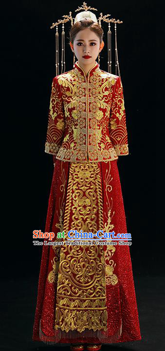 Chinese Traditional Wedding Toast Xiuhe Suits Ancient Bride Embroidered Costumes for Women