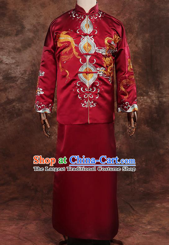Chinese Traditional Wedding Costumes Tang Suit Bridegroom Embroidered Dragon Red Long Gown for Men