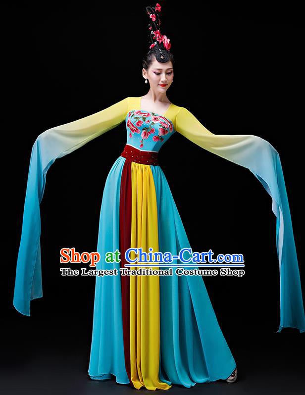 Chinese Traditional Classical Dance Costumes Umbrella Dance Group Dance Blue Water Sleeve Dress for Women