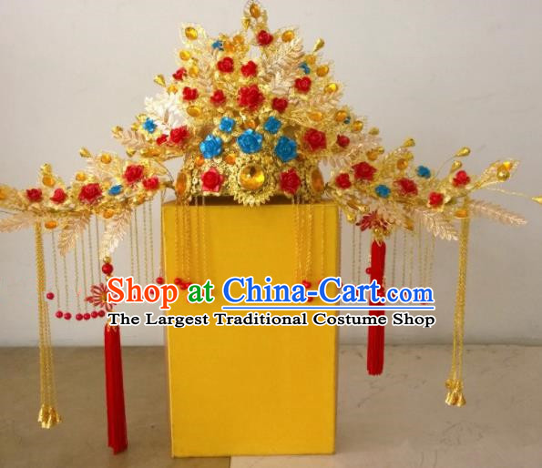 Chinese Ancient Wedding Hair Accessories Ming Dynasty Empress Phoenix Coronet Hat Headwear for Women