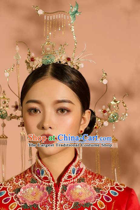 Chinese Ancient Wedding Hair Accessories Palace Phoenix Coronet Bride Hairpins Headwear for Women