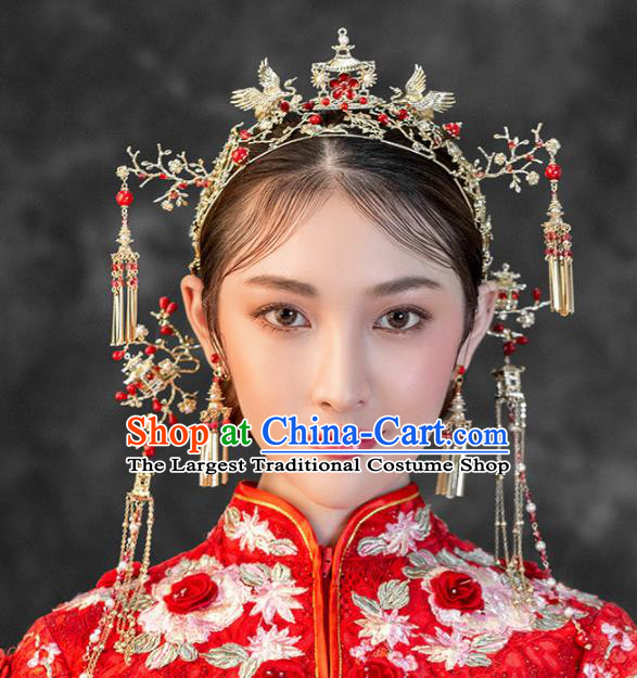 Chinese Ancient Wedding Hair Accessories Palace Cranes Phoenix Coronet Bride Hairpins Headwear for Women