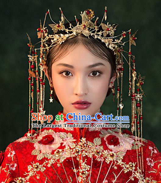 Chinese Ancient Bride Golden Butterfly Phoenix Coronet Wedding Hair Accessories Palace Hairpins Headwear for Women