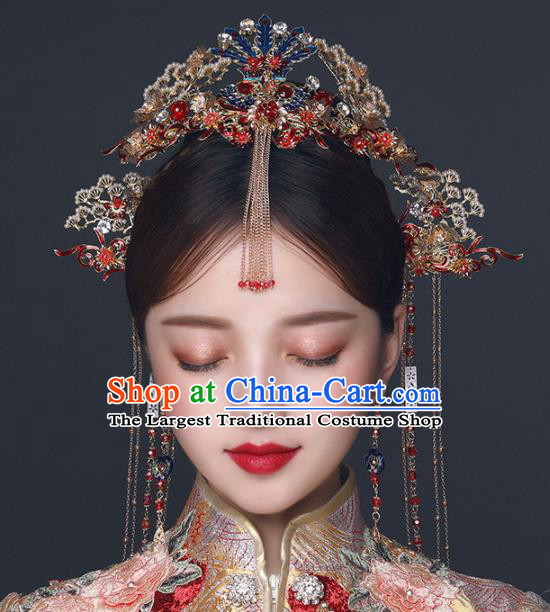 Chinese Ancient Wedding Hair Accessories Bride Blueing Phoenix Coronet Tassel Hairpins Headwear for Women