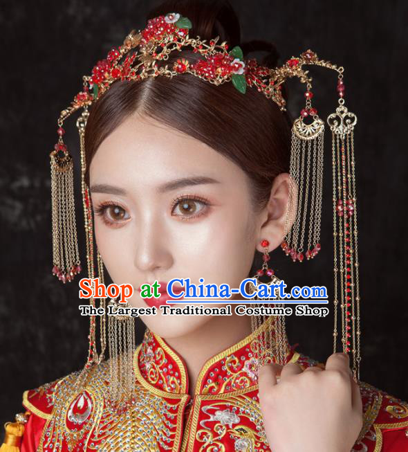 Chinese Ancient Palace Bride Hair Accessories Wedding Red Grape Phoenix Coronet Hairpins Headwear for Women