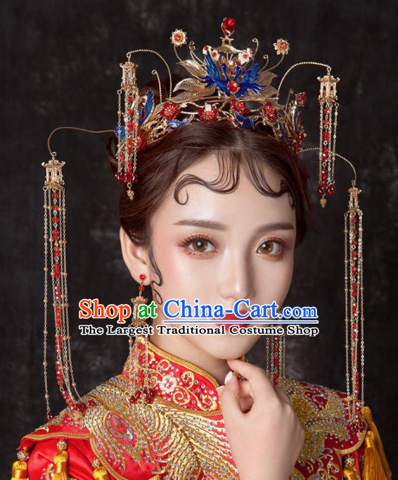 Chinese Ancient Palace Bride Hair Accessories Blueing Cranes Phoenix Coronet Hairpins Headwear for Women