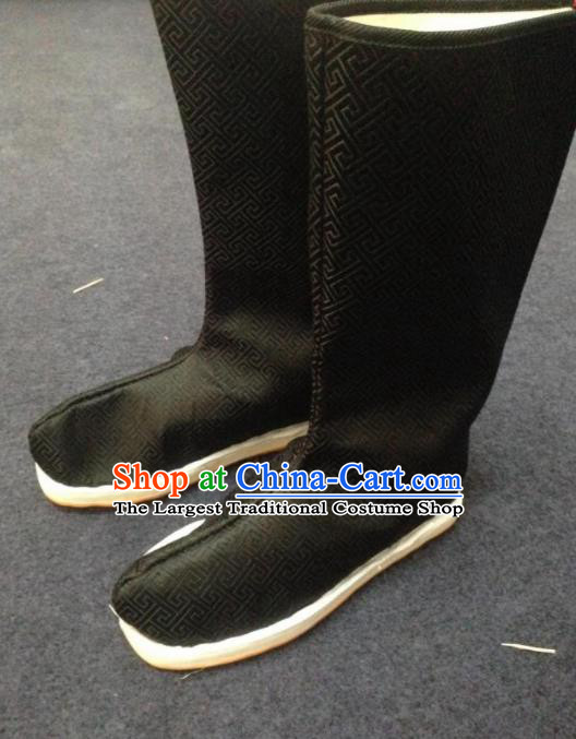Chinese Traditional Shoes Ancient Emperor Beijing Opera Black Boots Hanfu Satin Boots for Men