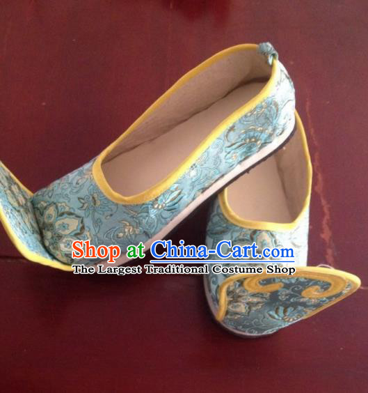 0be80663b2d7 Traditional Chinese Wedding Shoes Ancient Princess Shoes Blue Embroidered  Shoes for Women