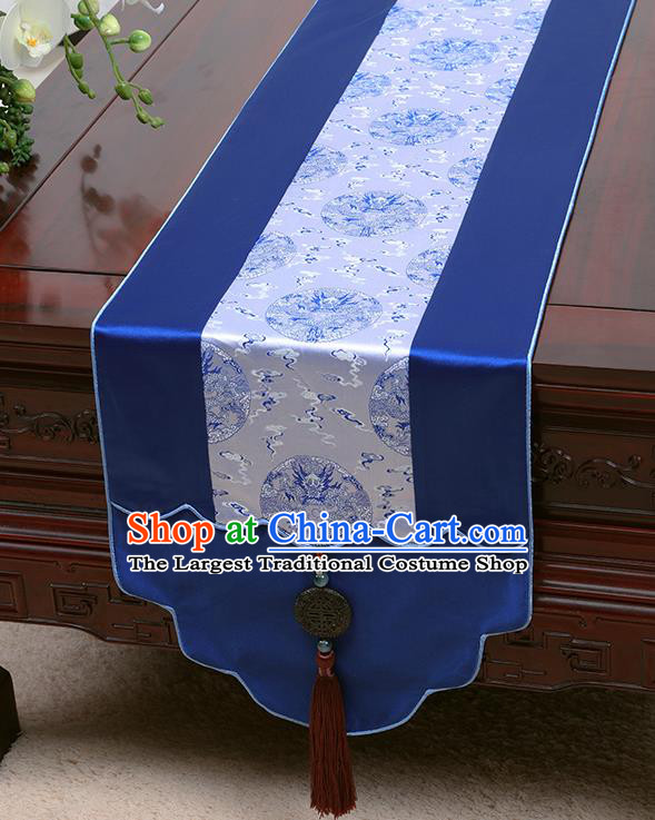Chinese Traditional Royalblue Brocade Table Cloth Classical Dragons Pattern Household Ornament Table Flag