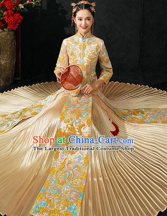 Chinese Traditional Wedding Costumes Bride Toast Golden Xiuhe Suits Ancient Embroidered Full Dress for Women