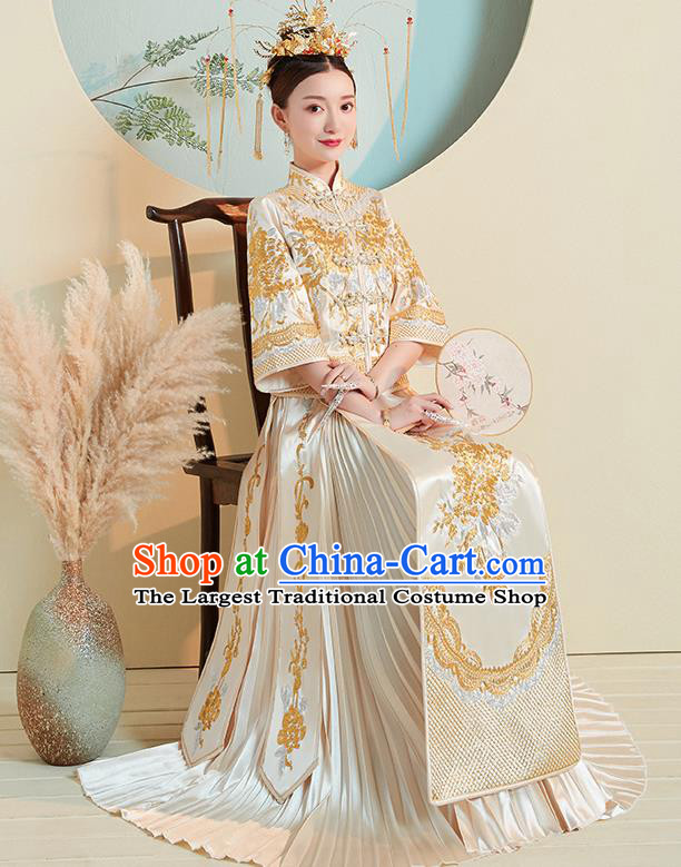 Chinese Traditional Wedding Costumes Golden Xiuhe Suits Ancient Embroidered Bride Toast Full Dress for Women