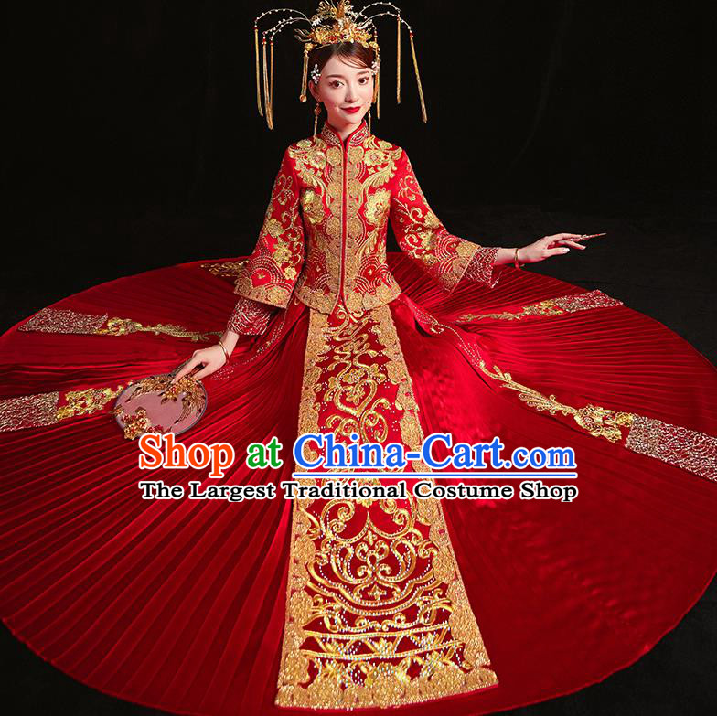 Chinese Traditional Wedding Costumes Embroidered Red Xiuhe Suits Ancient Bride Toast Full Dress for Women