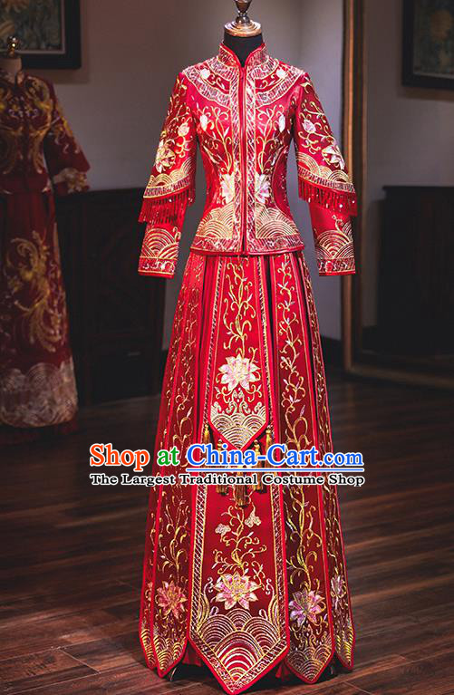 Chinese Traditional Wedding Costumes Embroidered Peony Red Xiuhe Suits Ancient Bride Toast Full Dress for Women