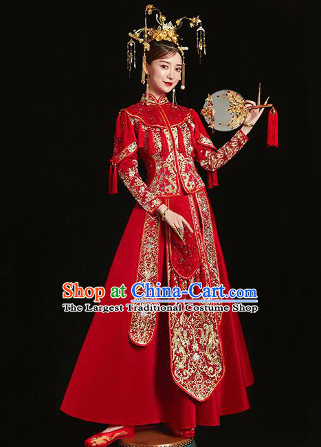 Chinese Traditional Bride Toast Embroidered Diamante Red Xiuhe Suits Ancient Wedding Costumes for Women