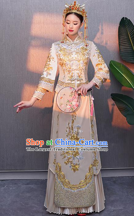 Chinese Traditional Bride Embroidered Peony White Xiuhe Suits Ancient Handmade Wedding Costumes for Women