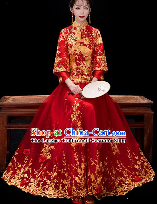 Chinese Traditional Bride Embroidered Red Veil Xiuhe Suits Ancient Handmade Wedding Costumes for Women