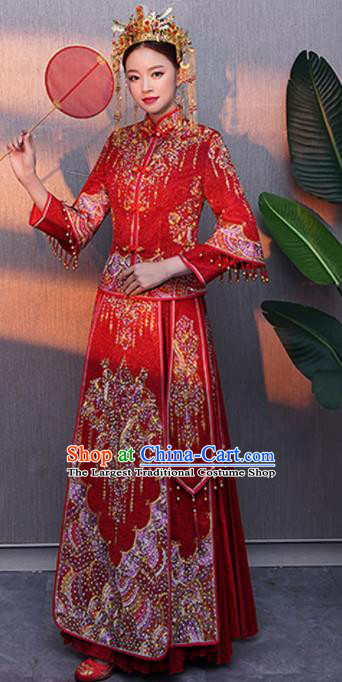 Chinese Traditional Bride Rhinestone Red Xiuhe Suits Ancient Handmade Embroidered Wedding Costumes for Women
