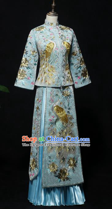 Chinese Traditional Bride Blue Xiuhe Suits Ancient Handmade Embroidered Peacock Wedding Dresses for Women