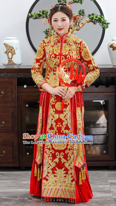 Chinese Traditional Bride Embroidered Red Xiuhe Suits Ancient Handmade Wedding Dresses for Women