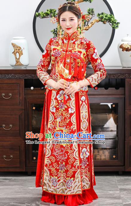 Chinese Traditional Bride Embroidered Dragon Red Xiuhe Suits Ancient Handmade Wedding Dresses for Women