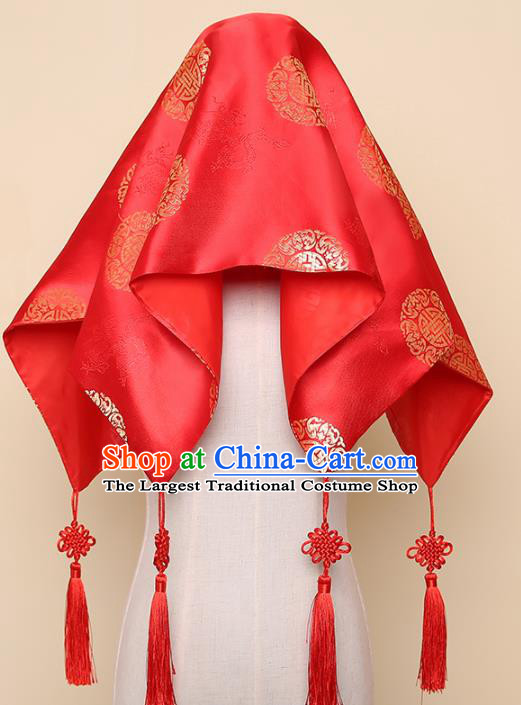 Chinese Traditional Wedding Hair Accessories Ancient Bride Red Silk Cover Headdress for Women