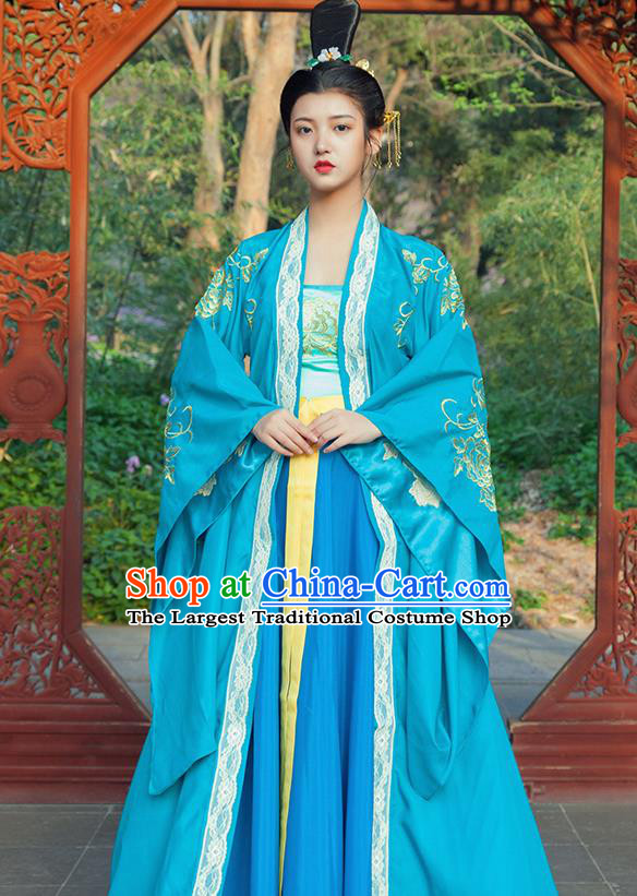 Traditional Chinese Tang Dynasty Imperial Consort Blue Hanfu Dress Ancient Drama Peri Goddess Costumes for Women