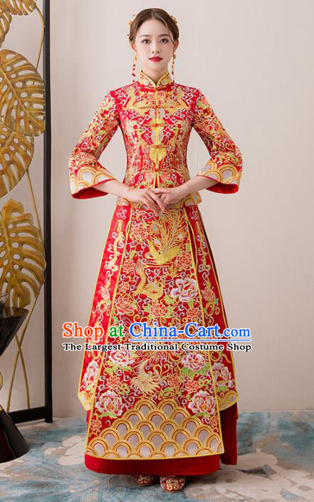 Chinese Traditional Bride Embroidered Cheongsam Ancient Handmade Xiuhe Suits Wedding Dress for Women