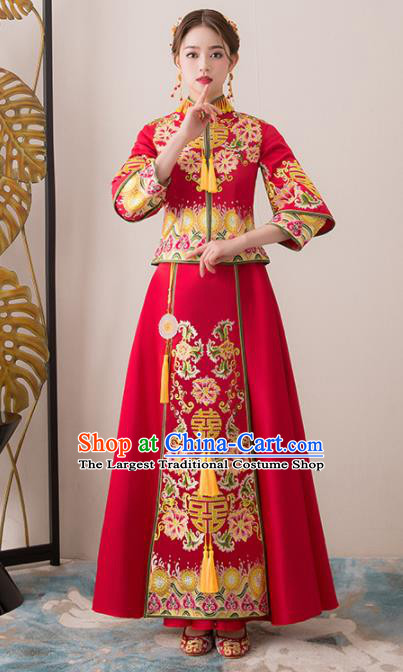 Chinese Traditional Bride Embroidered Peony Cheongsam Ancient Handmade Xiuhe Suits Wedding Dress for Women