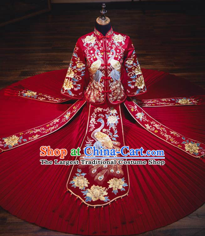 Chinese Traditional Embroidered Cranes Cheongsam Ancient Bride Handmade Xiuhe Suits Wedding Dress for Women