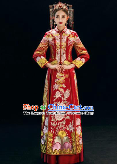 Chinese Traditional Wedding Dress Embroidered Peony Cheongsam Ancient Bride Xiuhe Suits Costumes for Women
