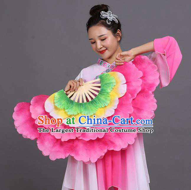 Chinese Traditional Folk Dance Props Classical Dance Fans Pink Peony Fans