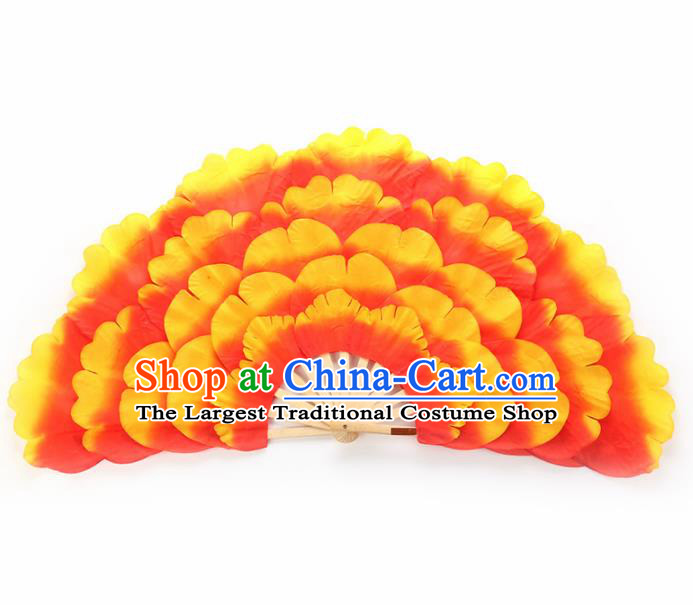 Chinese Traditional Folk Dance Props Classical Dance Fans Orange Peony Fans
