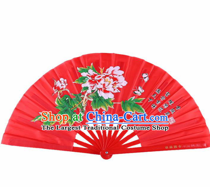Chinese Traditional Folk Dance Props Classical Dance Fans Red Folding Fans