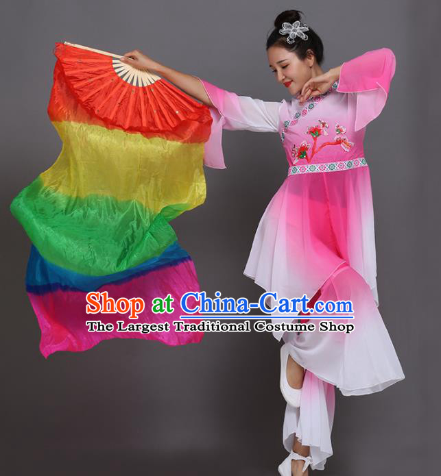 Chinese Traditional Folk Dance Props Classical Dance Fans Silk Ribbon Fans
