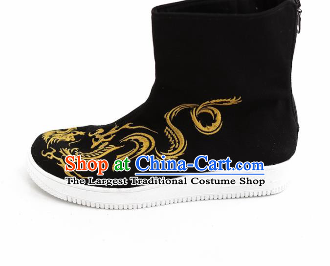 Chinese Traditional Martial Arts Shoes Kung Fu Embroidered Black Cloth Boots for Men