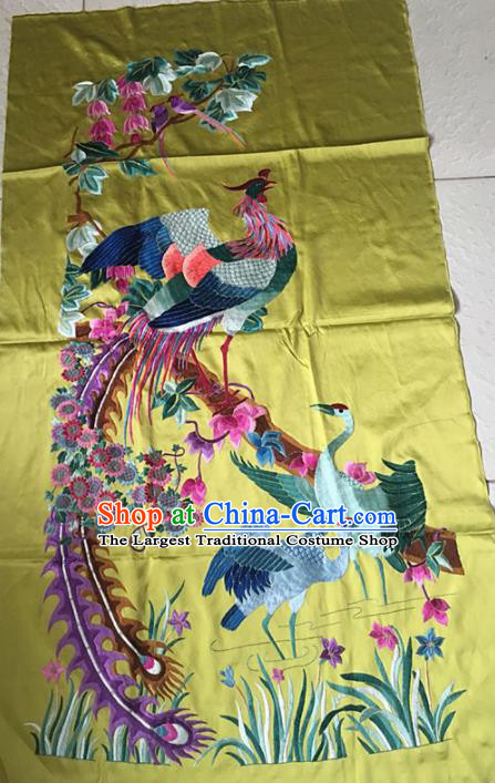 Chinese Traditional Embroidery Craft Embroidered Phoenix Cranes Silk Patches Handmade Embroidering Accessories