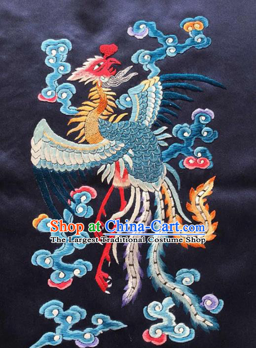 Chinese Traditional Handmade Embroidery Craft Embroidered Phoenix Black Silk Patches